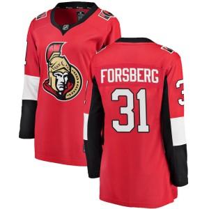 Women's Ottawa Senators Anton Forsberg Fanatics Branded Breakaway Home Jersey - Red