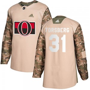 Men's Ottawa Senators Anton Forsberg Adidas Authentic Veterans Day Practice Jersey - Camo