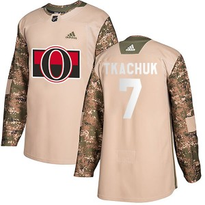 Men's Ottawa Senators Brady Tkachuk Adidas Authentic Veterans Day Practice Jersey - Camo
