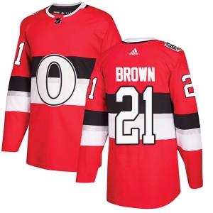 Men's Ottawa Senators Logan Brown Adidas Authentic 2017 100 Classic Jersey - Red