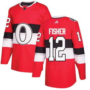 Men's Ottawa Senators Mike Fisher Adidas Authentic 2017 100 Classic Jersey - Red
