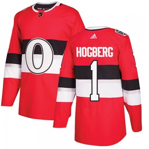 Men's Ottawa Senators Marcus Hogberg Adidas Authentic 2017 100 Classic Jersey - Red