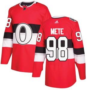 Men's Ottawa Senators Victor Mete Adidas Authentic 2017 100 Classic Jersey - Red