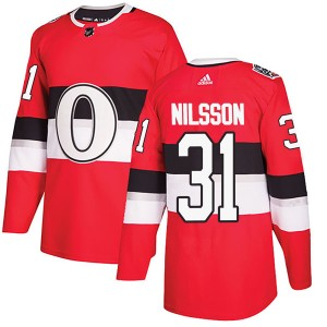 Men's Ottawa Senators Anders Nilsson Adidas Authentic 2017 100 Classic Jersey - Red