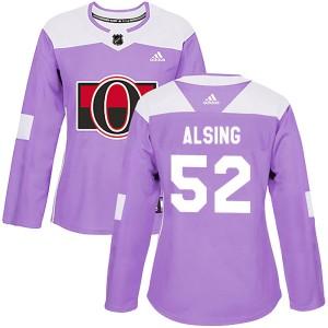 Women's Ottawa Senators Olle Alsing Adidas Authentic Fights Cancer Practice Jersey - Purple