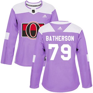 Women's Ottawa Senators Drake Batherson Adidas Authentic Fights Cancer Practice Jersey - Purple