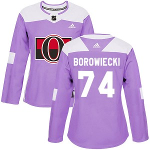 Women's Ottawa Senators Mark Borowiecki Adidas Authentic Fights Cancer Practice Jersey - Purple