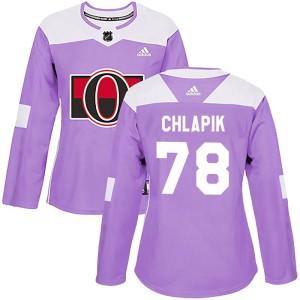 Women's Ottawa Senators Filip Chlapik Adidas Authentic Fights Cancer Practice Jersey - Purple