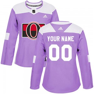 Women's Ottawa Senators Custom Adidas Authentic ized Fights Cancer Practice Jersey - Purple
