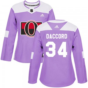 Women's Ottawa Senators Joey Daccord Adidas Authentic Fights Cancer Practice Jersey - Purple