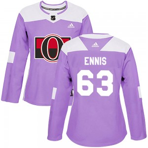 Women's Ottawa Senators Tyler Ennis Adidas Authentic Fights Cancer Practice Jersey - Purple
