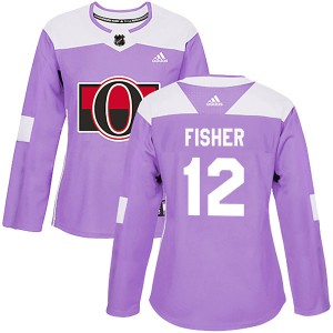 Women's Ottawa Senators Mike Fisher Adidas Authentic Fights Cancer Practice Jersey - Purple