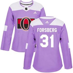 Women's Ottawa Senators Anton Forsberg Adidas Authentic Fights Cancer Practice Jersey - Purple