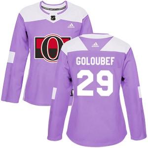 Women's Ottawa Senators Cody Goloubef Adidas Authentic Fights Cancer Practice Jersey - Purple