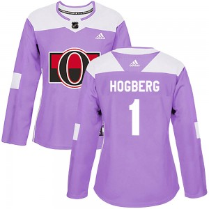 Women's Ottawa Senators Marcus Hogberg Adidas Authentic Fights Cancer Practice Jersey - Purple