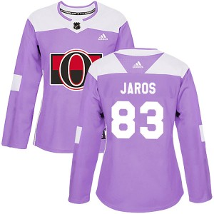 Women's Ottawa Senators Christian Jaros Adidas Authentic Fights Cancer Practice Jersey - Purple