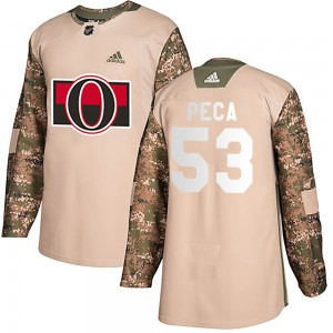 Youth Ottawa Senators Matthew Peca Adidas Authentic ized Veterans Day Practice Jersey - Camo