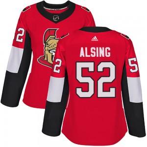 Women's Ottawa Senators Olle Alsing Adidas Authentic Home Jersey - Red