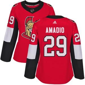 Women's Ottawa Senators Michael Amadio Adidas Authentic Home Jersey - Red