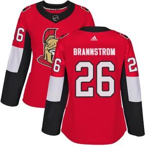 Women's Ottawa Senators Erik Brannstrom Adidas Authentic Home Jersey - Red