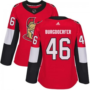 Women's Ottawa Senators Erik Burgdoerfer Adidas Authentic Home Jersey - Red