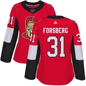 Women's Ottawa Senators Anton Forsberg Adidas Authentic Home Jersey - Red