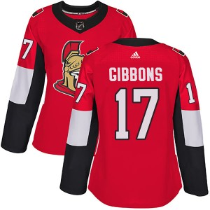 Women's Ottawa Senators Brian Gibbons Adidas Authentic Home Jersey - Red