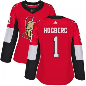 Women's Ottawa Senators Marcus Hogberg Adidas Authentic Home Jersey - Red