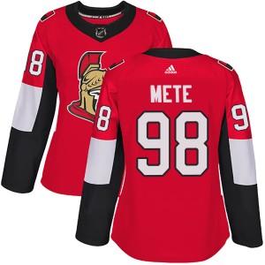 Women's Ottawa Senators Victor Mete Adidas Authentic Home Jersey - Red