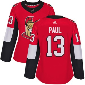 Women's Ottawa Senators Nick Paul Adidas Authentic Home Jersey - Red