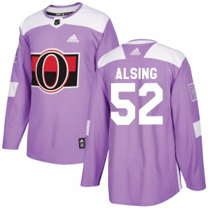 Youth Ottawa Senators Olle Alsing Adidas Authentic Fights Cancer Practice Jersey - Purple