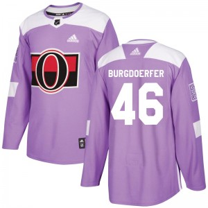 Youth Ottawa Senators Erik Burgdoerfer Adidas Authentic Fights Cancer Practice Jersey - Purple