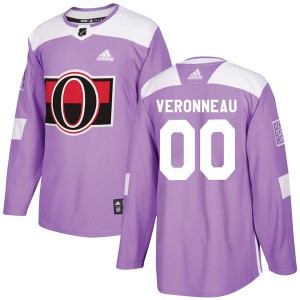Youth Ottawa Senators Max Veronneau Adidas Authentic Fights Cancer Practice Jersey - Purple