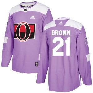 Men's Ottawa Senators Logan Brown Adidas Authentic Fights Cancer Practice Jersey - Purple