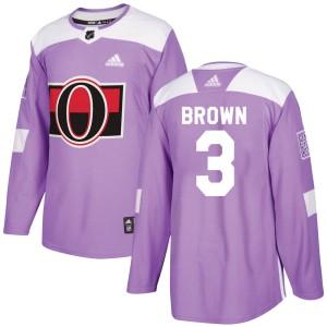 Men's Ottawa Senators Josh Brown Adidas Authentic Fights Cancer Practice Jersey - Purple