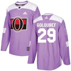 Men's Ottawa Senators Cody Goloubef Adidas Authentic Fights Cancer Practice Jersey - Purple
