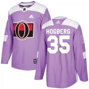 Men's Ottawa Senators Marcus Hogberg Adidas Authentic Fights Cancer Practice Jersey - Purple