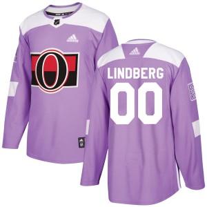 Men's Ottawa Senators Oscar Lindberg Adidas Authentic Fights Cancer Practice Jersey - Purple