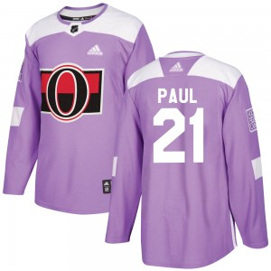 Men's Ottawa Senators Nick Paul Adidas Authentic Fights Cancer Practice Jersey - Purple