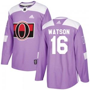 Men's Ottawa Senators Austin Watson Adidas Authentic Fights Cancer Practice Jersey - Purple