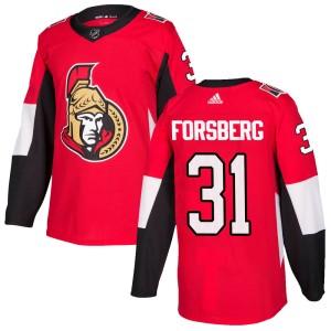 Youth Ottawa Senators Anton Forsberg Adidas Authentic Home Jersey - Red