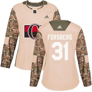 Women's Ottawa Senators Anton Forsberg Adidas Authentic Veterans Day Practice Jersey - Camo