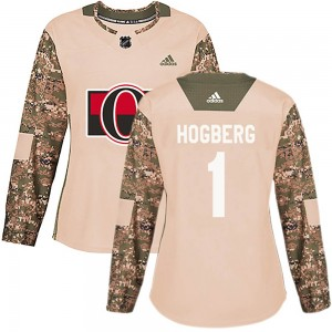 Women's Ottawa Senators Marcus Hogberg Adidas Authentic Veterans Day Practice Jersey - Camo