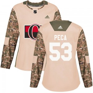 Women's Ottawa Senators Matthew Peca Adidas Authentic ized Veterans Day Practice Jersey - Camo