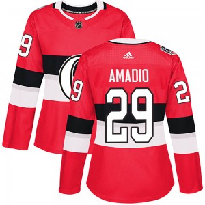 Women's Ottawa Senators Michael Amadio Adidas Authentic 2017 100 Classic Jersey - Red