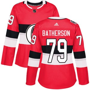 Women's Ottawa Senators Drake Batherson Adidas Authentic 2017 100 Classic Jersey - Red