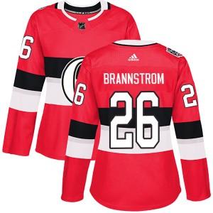 Women's Ottawa Senators Erik Brannstrom Adidas Authentic 2017 100 Classic Jersey - Red