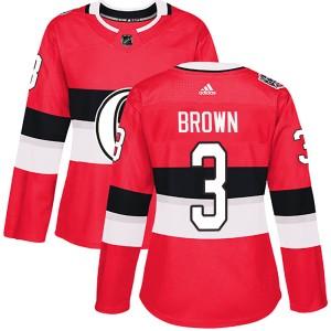 Women's Ottawa Senators Josh Brown Adidas Authentic 2017 100 Classic Jersey - Red