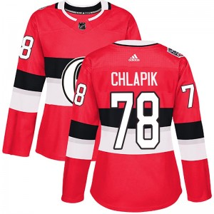 Women's Ottawa Senators Filip Chlapik Adidas Authentic 2017 100 Classic Jersey - Red