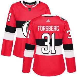 Women's Ottawa Senators Anton Forsberg Adidas Authentic 2017 100 Classic Jersey - Red